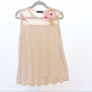 Kim & Cami X-large beige embroidered top